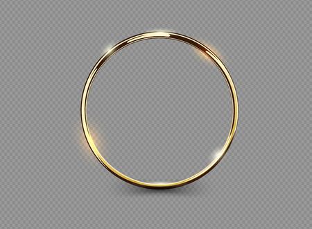 Anel dourado luxuoso abstrato no fundo transparente. Efeito da luz do projector dos círculos da luz do vetor. Moldura redonda de cor ouro Ilustración de vector