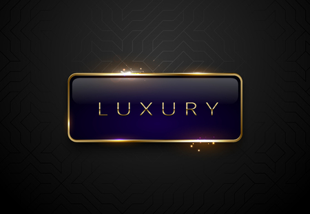 Luxury blue label with golden frame sparks on black geometric pattern background. Dark premium template. Vector illustration