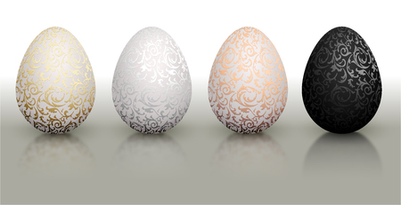 White natural color realistic Easter egg set with metallic floral pattern. Isolated on white background with reflection. Golden, bronze, silver and black color