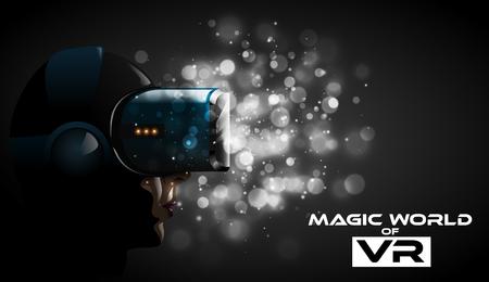 Vector tragende Gläser des Kopfhörers 3d der virtuellen Realität der jungen hübschen Frau. Spiel Anime Movie Style Charakter für VR-Cover-Label. Drastisches weißes bokeh beleuchtet Hintergrund. Futuristischer Cyber-Leidenschaftseindruck