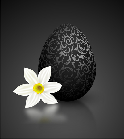 Black color mat realistic egg with metallic floral pattern. Isolated on black background with reflection. Illustration