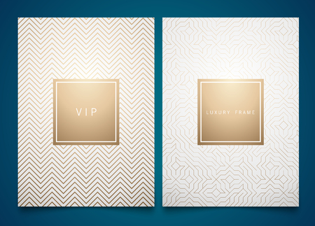 Vector set white packaging templates with different golden linear geometric pattern texture for luxury product. Stock Illustratie