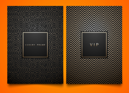 Vector set black packaging templates with different golden linear geometric pattern texture for luxury product. Trendy design for logo. Square frame Çizim
