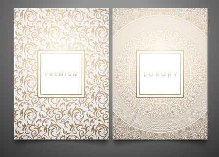 Vector set packaging templates with different golden floral damask texture for luxury product. White background and frame. Trendy design for logo