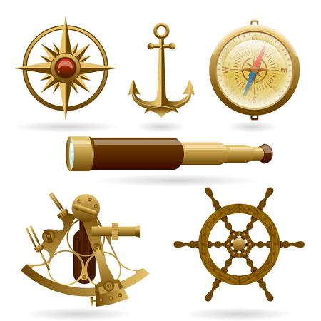 Conjunto de iconos de vector de navegación marina aislado sobre fondo blanco. Rosa de los vientos, ancla, brújula y otros objetos.
