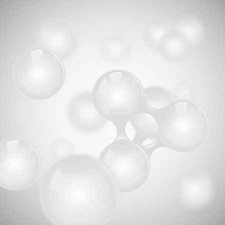 Vector abstract light grey glossy molecule design. White toms illustration. Medical background for science banner or flyer. Molecular structure with 3d spherical particles