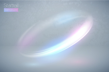 Circular flare multicolor light effect. Abstract galaxy ellipse border. Luxury shining rotational glow line. Power energy glowing ring trace. Round shiny frame. Vector blue and pink swirl trail
