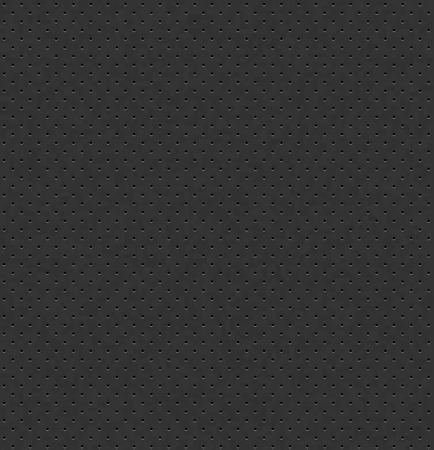 Vector dark gray perforated leather seamless texture. Realistic charcoal perforated background. Black dotted pattern. Car seat material design. Endless web page fill