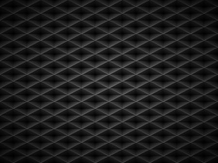 Vector black embossed pattern plastic grid background. Technology diamond shape cell dark geometric pattern.