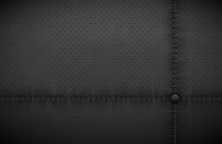 Vector dark gray perforated leather texture wallpaper. Realistic charcoal perforated background. Black dotted pattern. Car seat material design