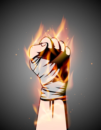 MMA or boxing burning bandage fist uplifted hand. Mixed martial arts fighting flame emblem or logo idea. Vector athletic symbol with fire.