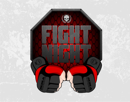 MMA gloves hands octagon stage cage poster. Mixed martial arts fight night banner. Fighting emblem logo element. Boxing decoration illustration. Vector background.