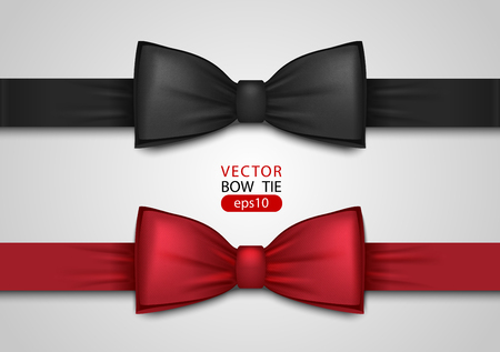 Black and red bow tie, realistic vector illustration, isolated on white background. Elegant silk neck bow. Vip event accessory. Vettoriali