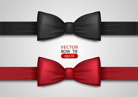 Noeud papillon noir et rouge, illustration vectorielle réaliste, isolé sur fond blanc. Noeud de cou en soie élégant. Accessoire d'événement VIP. Vecteurs
