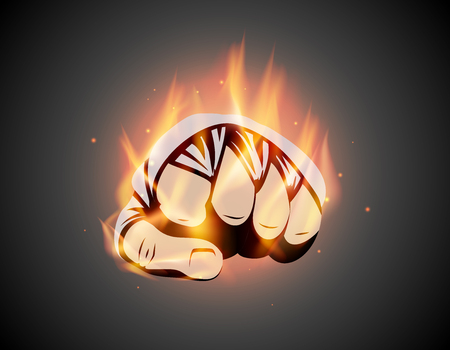 MMA or boxing burning bandage fist. Mixed martial arts fighting flame hand emblem or  idea. Vector athletic symbol with fire. Ilustrace