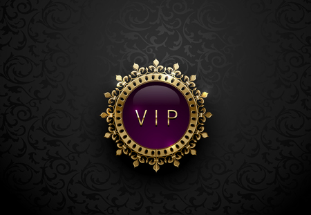 Vip purple label with round golden ring frame crown on black floral background. Dark glossy royal premium template. Vector luxury illustration