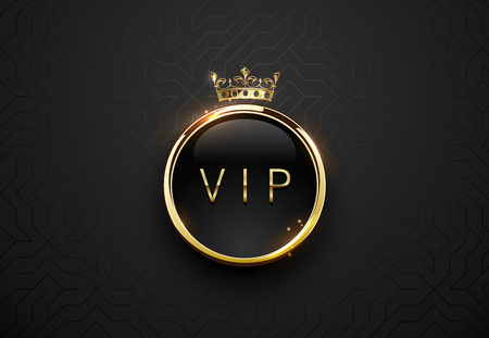 Étiquette noire VIP avec des étincelles de cadre rond en or et couronne sur fond géométrique noir. Modèle premium brillant foncé. Illustration de luxe de vecteur
