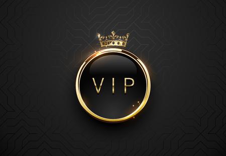 Etiqueta negra vip con marco de anillo dorado redondo chispas y corona sobre fondo geométrico negro. Plantilla premium oscura brillante. Vector ilustración de lujo