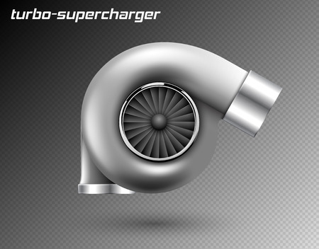 Vector car turbocharger isolated on transparent background. Realistic metal turbine icon. Tuning turbo superchardger