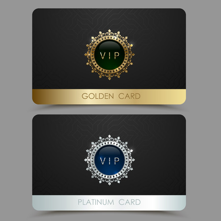 Vector golden and platinum VIP card template. Crown round frame with gem on a black geometric pattern background. Jewel label design plastic card with metallic line.