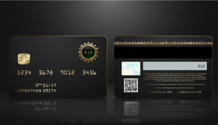 Vector realistic black credit card with abstract geometric background. Golden element credit card dark design template. Bank presentation with hologram, qr-code and magnetic strip