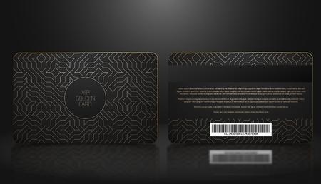 Vektorschablone der Mitgliedschaft oder Treueschwarze VIP-Karte mit luxuriösem goldenen geometrischen Muster. Designpräsentation vorne und hinten. Premium-Mitglied, Plastikkarte Vektorgrafik