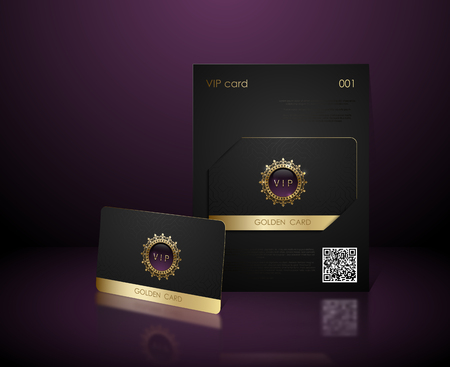 Vector black vip card presentation with golden frame. VIP membership or discount card. Luxury club ticket. Elite black coupon. Vip card with jewel element on purple background
