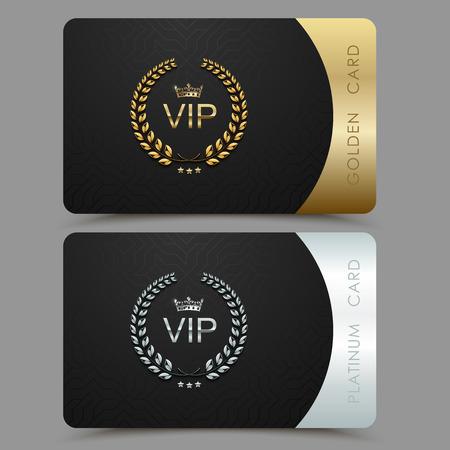 Carte de vecteur VIP or et platine. Fond de motif géométrique noir avec couronne de laurier couronne. Design de luxe pour membre VIP.