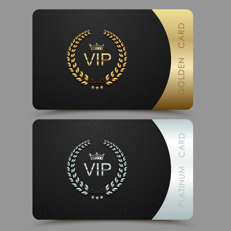Vector VIP golden and platinum card. Black geometric pattern background with crown laurel wreath. Luxury design for vip member. Illustration