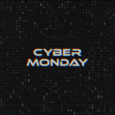 Vector Cyber monday Sale web banner on binary code dark background. Online web shopping data concept. Computer numbers 1,0. Analog TV Glitch moire texture