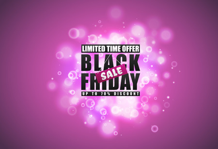 Black Friday sale banner. Black text with tag and glow sparks bokeh effect on pink background. Limited time offer. Up to 70 percent discount Ilustração