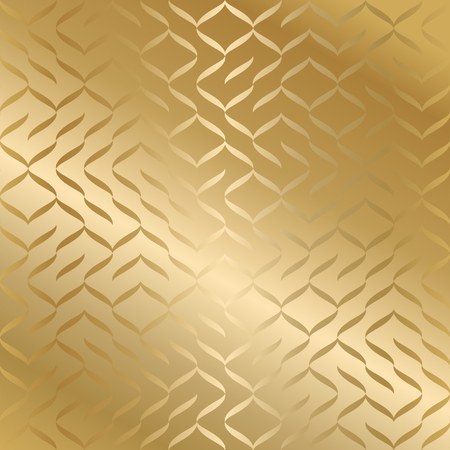 Geometric seamless golden texture. Gold wrapping paper pattern background. Simple luxury graphic print. Vector repeating line modern swatch. Minimalistic shapes Çizim