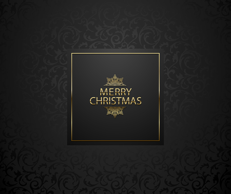 Christmas background with black floral pattern. Elegant premium holiday tag. Golden Merry Christmas text and snowflake. Vector label illustration. Dark square frame card