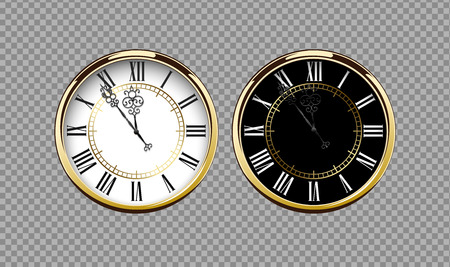 Vintage luxury golden wall clock with roman numbers isolated on transparent background. Realistic black and white round clock-face dial. Glossy gold frame ring. Time scale vector icon