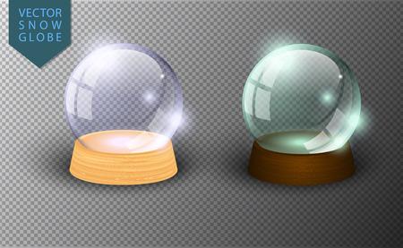 Wektor snow globe pusty szablon na przezroczystym tle. Świąteczna magiczna kula. Szklana kopuła, drewniany stojak. Realistyczne tradycyjne zimowe wakacje kryształ. Kula z zabawkami świątecznymi Ilustracje wektorowe