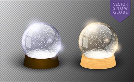 Modèle vide de boule à neige de vecteur isolé sur fond transparent. Boule magique de Noël. Dôme en boule de verre, support en bois. Cristal de vacances d'hiver traditionnel réaliste, neige à l'intérieur. Sphère de jouet de Noël