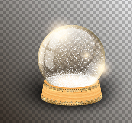 Vector snow globe empty template isolated on transparent background. Christmas magic ball. Glass ball dome, wooden stand with silver crown decor. Winter holiday crystal, snow inside. Xmas toy sphere Illusztráció