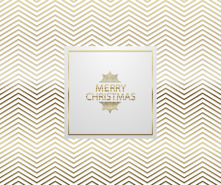 Christmas background with shining golden zigzag pattern. Merry Christmas text and snowflake. Vector Illustration. Geometric white backdrop card.