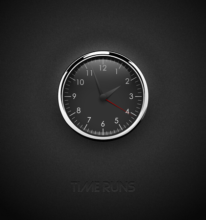 Realistic deep black round clock cut out on textured plastic dark background. Chrome stainless steel frame ring. White round scale and numbers under glass. Vector icon or ui screen interface element