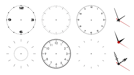 Clock face blank isolated on white background. Vector clock hands. Set for watch design.
