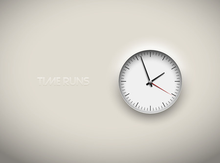 Vector cut out white round clock time business background. Black simple round scale. Icon design or ui screen interface element