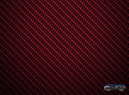 Vector red carbon fiber volume background. Abstract decoration cloth material wallpaper with shadow for car tuning or service.