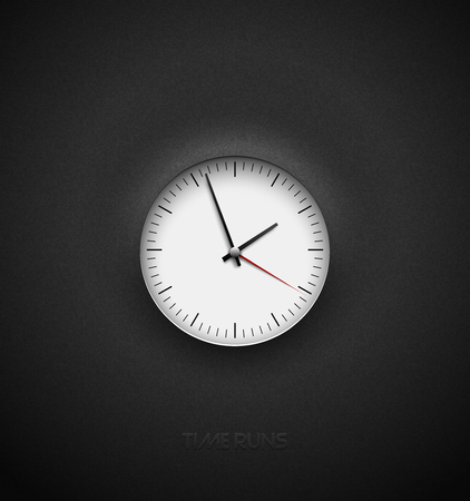 Realistic bright white round clock cut out on textured plastic dark background. Black simple classic round scale. Vector icon design or ui screen interface element Çizim