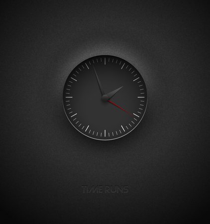 Realistic deep black round clock cut out on textured plastic dark background. White simple modern round scale. Vector icon design or ui screen interface element Foto de archivo - 127024880