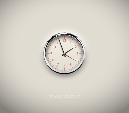Realistic round clock cut out in white background. Red round scale and numbers. Chrome stainless steel frame ring. Vector icon design or ui screen interface element Vektorové ilustrace