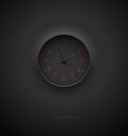Realistic deep black round clock cut out on textured plastic dark background. Red round scale and numbers. Vector icon design or ui screen interface element
