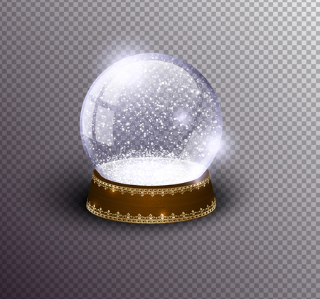 Vector snow globe empty template isolated on transparent background. Christmas magic ball. Glass ball dome, wooden stand with silver crown decor. Winter holiday crystal, snow inside. Xmas toy sphere Ilustração