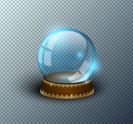 Vector snow globe empty template isolated transparent background. Christmas magic ball. Blue glass ball dome, wooden stand with golden crown decor. Winter holiday crystal. Xmas toy sphere. Witch ball