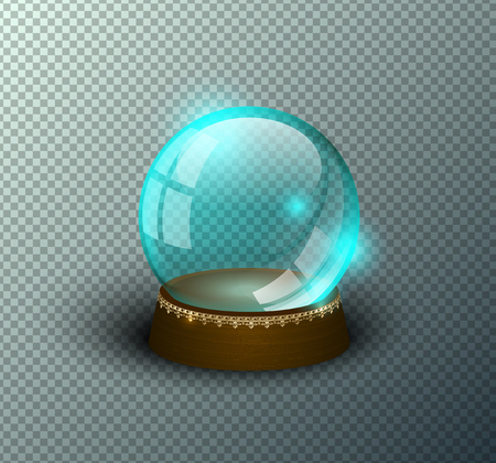 Vector snow globe empty template isolated transparent background. Christmas magic ball. Green glass ball dome, wooden stand with golden crown decor. Winter holiday crystal. Xmas toy sphere. Witch ball Illustration