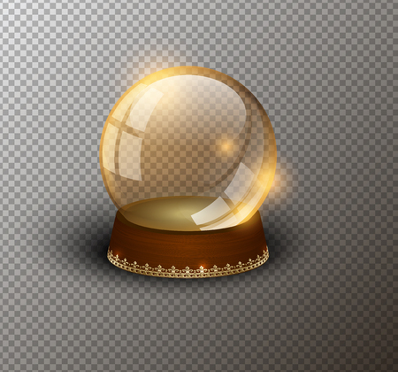 Vector snow globe empty template isolated transparent background. Christmas magic ball. Yellow glass ball dome, wooden stand golden crown decor. Winter holiday crystal. Xmas toy sphere. Witch ball